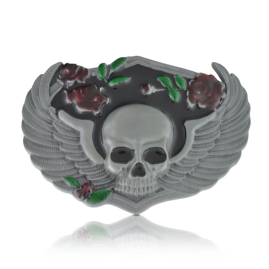 Blue Banana Skull Wings & Roses Belt Buckle (Silver)