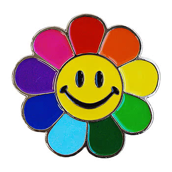 Blue Banana Smiley Flower Belt Buckle (Multi-Coloured)