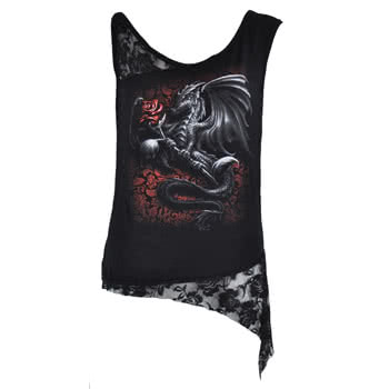 Spiral Direct Dragon Rose Lace Top (Black)