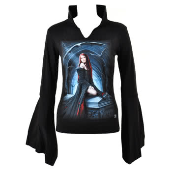 Spiral Direct Await The Night High Neck Top (Black)