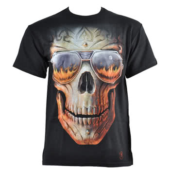 Spiral Direct Hellfire Skull T Shirt (Black)