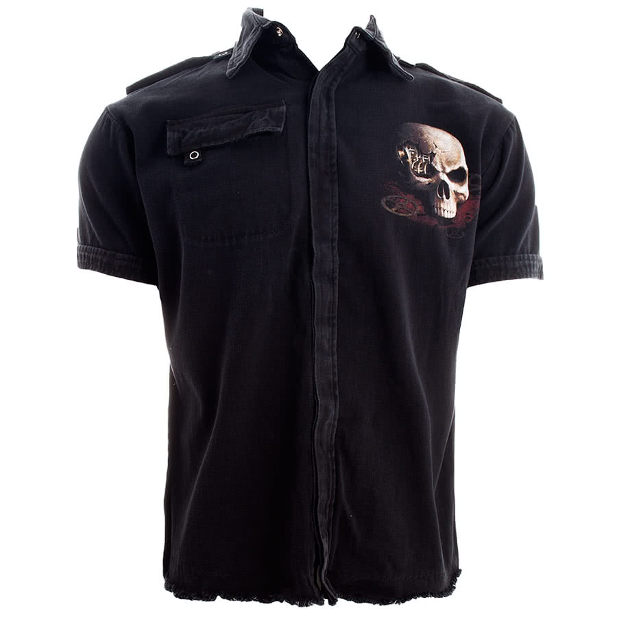 Spiral Direct Steampunk Bandit Short Sleeved Shirt (Black)