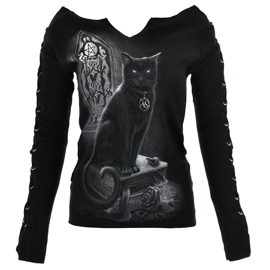 Spiral Direct Witch Cat Lace Up Top (Black)