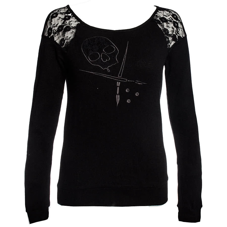 Sullen Angels Cold Shoulder Sweater (Black)