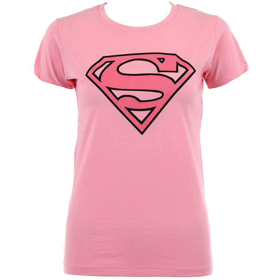 Superman Emblem Skinny Fit T Shirt (Pink)