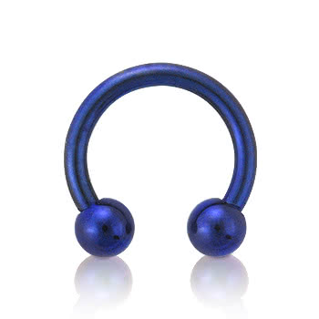 Blue Banana Coloured Titanium 1.6mm Circular Barbell (Blue)