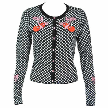Too Fast Cherry Polka Dots Cardigan (Black/White)