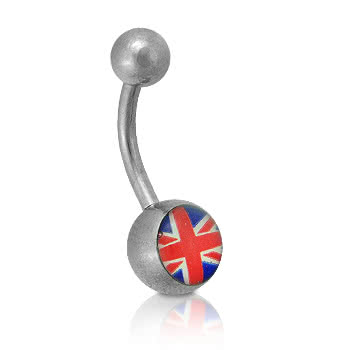 Blue Banana Union Jack Novelty Navel Bar