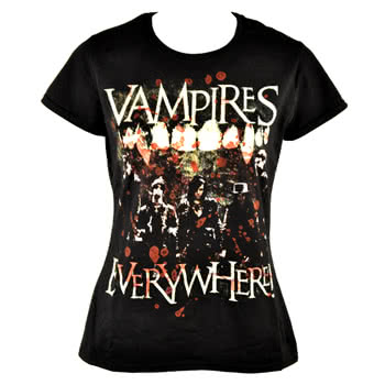 Vampires Everywhere Fangs Skinny Fit T Shirt (Black)