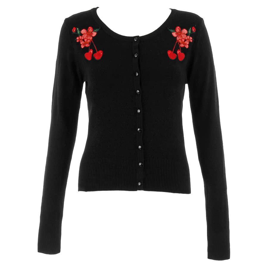 Voodoo Vixen Cherry Flower Cardigan (Black)
