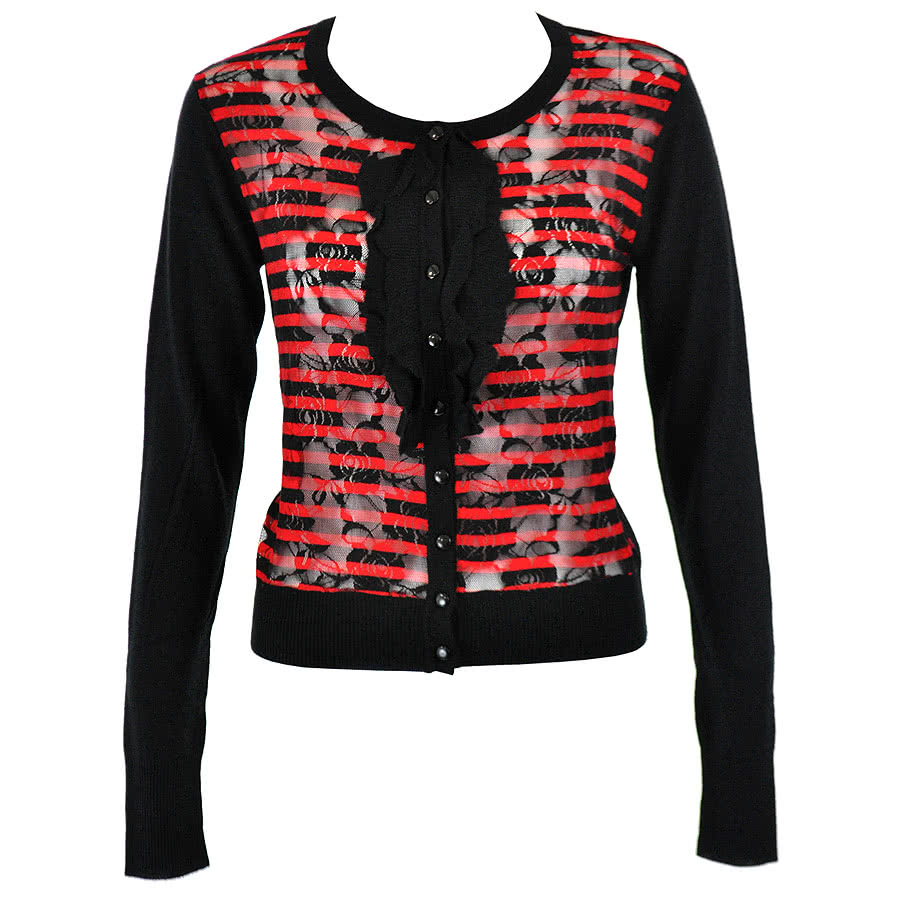 Voodoo Vixen Stripe Net Cardigan (Black/Red)