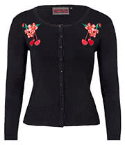 Voodoo Vixen Madison Cherry Flower Plus Size Cardigan (Black)
