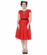 Voodoo Vixen Connie Glasses Plus Size Dress (Red)