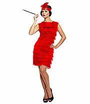 Flapper Girl With Tassels Fancy Dress Costume (Red)