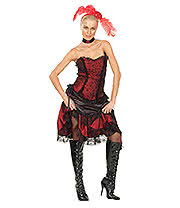 Saloon Girl Fancy Dress Costume (Red/Black)