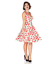 Voodoo Vixen Sybll Cherry Halterneck Dress (White)