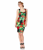 Voodoo Vixen Maggie May Tiki Pencil Dress (Green)