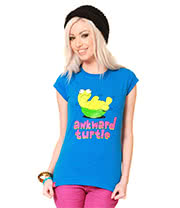 Flip Flop & Fangs Awkward Turtle Skinny T Shirt (Blue)