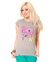 Flip Flop & Fangs My Dead Pony Skinny T Shirt (Grey)
