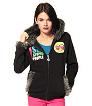 Flip Flop & Fangs I See Stupid People Fur Hoodie (Black)