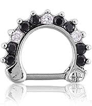 Blue Banana Septum Clicker 1.2 x 8mm (Black/Crystal)
