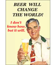 Beer Will Change The World Retro Novelty Card (White)