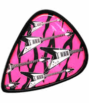Neon Guitar Pick Belt Buckle (Black/Pink)
