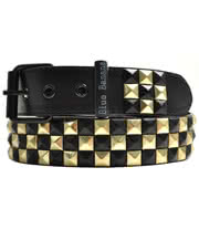 Blue Banana Checker 3 Row Studded Belt (Black/Gold)