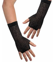 Pair of Long Net Gloves (Black)