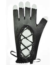 Pair of Net & Lace Short Gloves (Black)