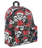 Blue Banana Skull Print Backpack (Black/White/Red)