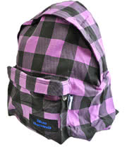Blue Banana Canvas Plaid Bag (Purple)