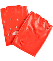 Blue Banana PU Leather M/L Fingerless Driving Gloves (Red)