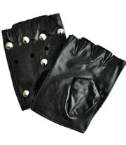 Blue Banana PU Leather M/L Studded Fingerless Driving Gloves (Black)