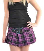 Hell Bunny Chelsea Mini Skirt With Buckle Detail (Black/Purple)