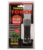 9 LED Bulb Torch with Batteries (Black)