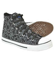 Blue Banana Black And White Stars Print Hi-Top Boots