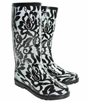 Blue Banana Black Lace Print Wellies