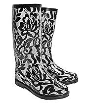 Blue Banana Lace Print Wellies (Bla