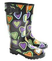 Blue Banana Heart Print Wellies (Black)