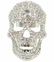 Blue Banana Skull Crystal Ring (Silver)
