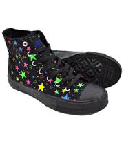Blue Banana Neon Stars High Top Boots (Black)
