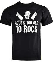 The Simpsons Never Too Old T Shirt (Black)