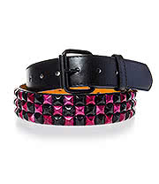 Blue Banana 3 Row Mirror Studded Belt (Black/Pink)