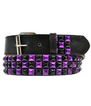 Blue Banana 3 Row Studded Belt (Black/Purple)