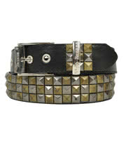 Blue Banana 3 Row Studded Belt (Black/Gold)
