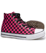 Blue Banana Checkerboard Hi Tops (Pink/Black)