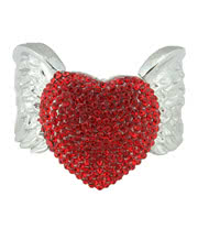 Blue Banana Heart & Wings Bangle (Red)