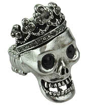 Blue Banana Skull & Crown Ring (Silver)
