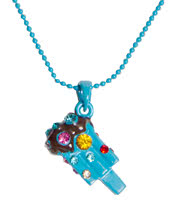 Blue Banana Ice Lolly Gem Necklace (Blue)